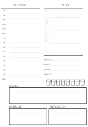 Hourly schedule, meal log, water tracker and to do list
