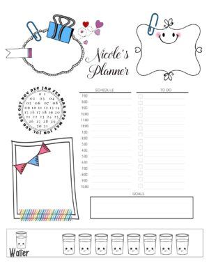 Cute hourly planner