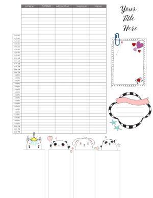 Cute schedule template
