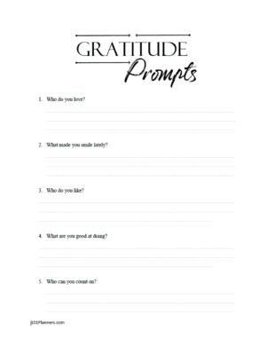 Gratitude worksheets