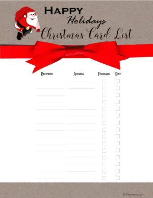 Free Printable Christmas Gift List Template