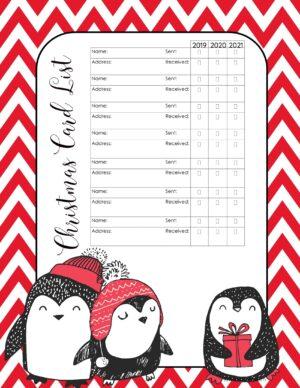 Free printable Christmas card list organizer
