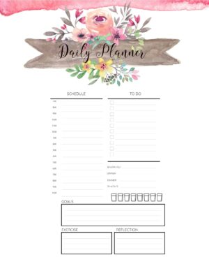 Daily planner with a schedule, to-do list, meal log, water tracker, exercise log and two more blocks