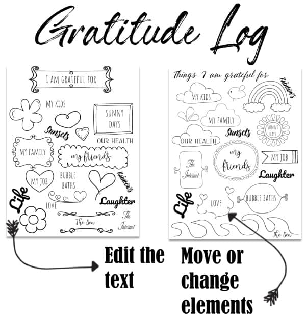 Creative log with doodles and text