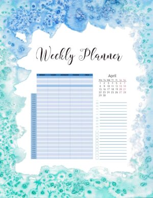 weekly planner with an hourly schedule, a calendar and a checklist