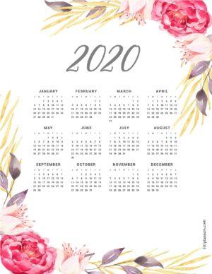Free printable calendar template for 2020