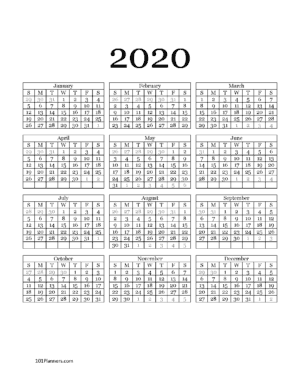 2020 calendar year