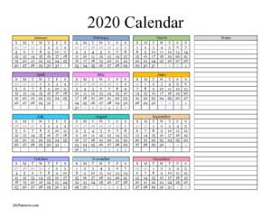 Calendar template 2020 Word