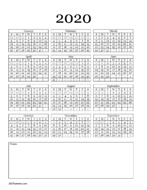 Word Calendar with space for notes