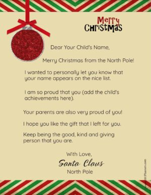 Free Personalized Printable Letter From Santa To Your Child