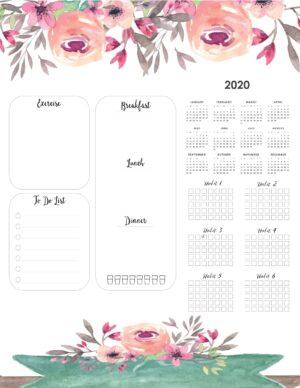 weight loss calendar 2020