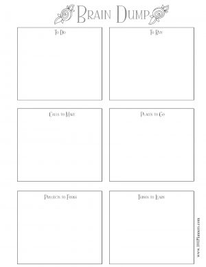 Brain Dump Worksheet