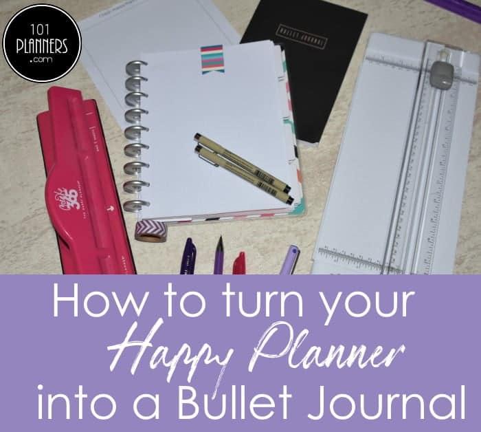 happy planner into bullet journal