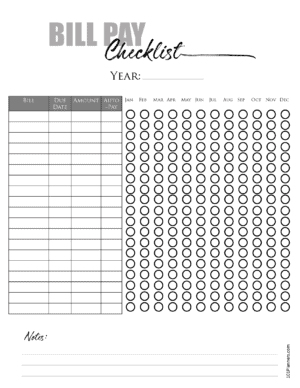 Yearly Bill Pay Checklist