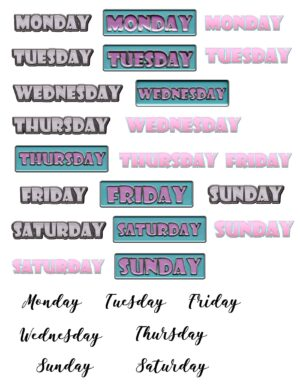 Days of week stickers