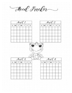 Monthly tracker with a cute frog