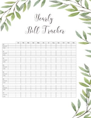 Yearly Bill Tracker