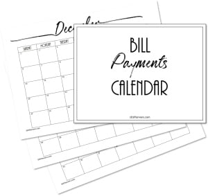 Monthly bill calendar