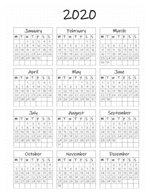 2020 yearly calendar with the week starting on a Monday