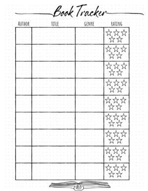 Book log printable