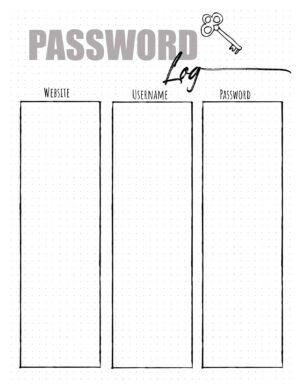 Password sheet printable