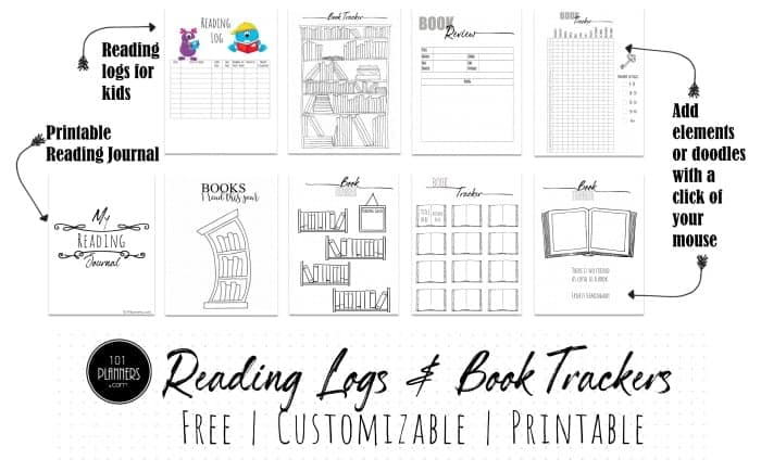 Reading log printables and book tracker templates