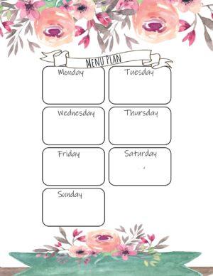 Pretty menu plan