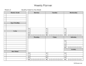 Weekly Planner with menu plan template
