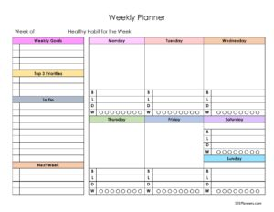 Weekly Planner with meal plan