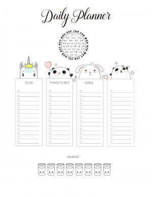 Cute daily planner printables
