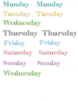 Days of the week stickers