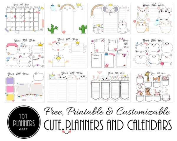 cute planners and calendars