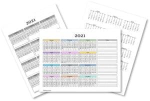 Blank calendars 2021