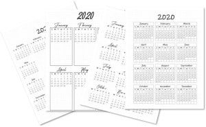 Bullet Journal Year at a Glance 2020