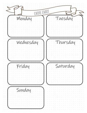 Weekly chore calendar