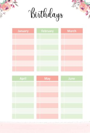 List of Birthdays from January to June