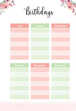 List of Birthdays from July to December