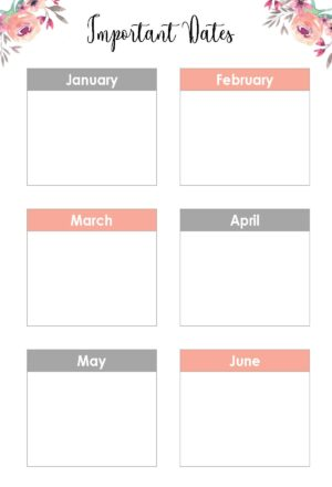 List of Important Dates from January to June