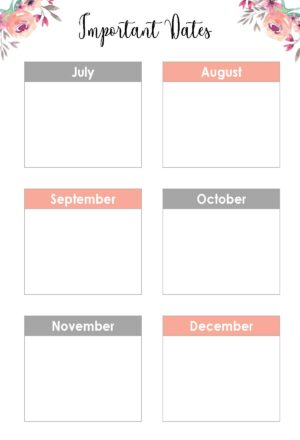 List of Important Dates from July to December