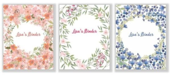 Binder covers with floral watercolor patterned backgrounds