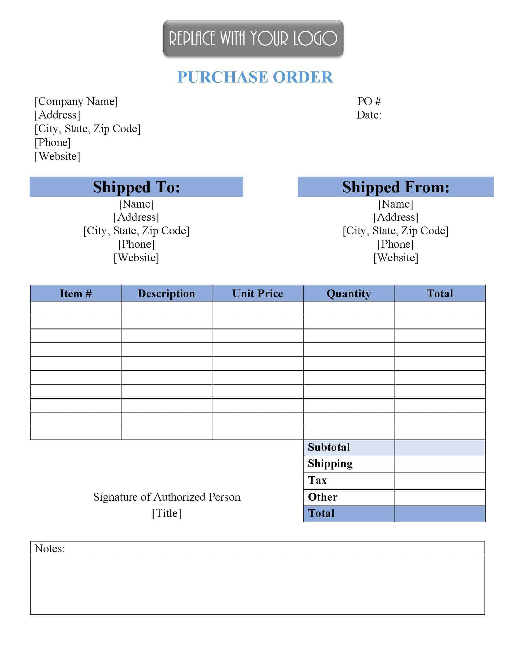 The credit application templates in word and pdf format can also designed with the space for filling type of business, legal operates, address and many other details about business. Free Purchase Order Template Instant Download