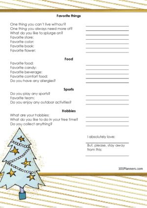 Printable Secret Santa questionnaire