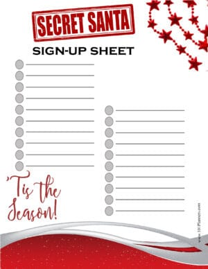 Christmas Sign up sheet