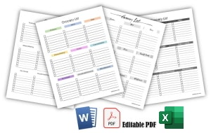 Blank grocery list templates