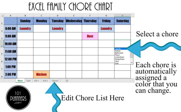 Excel family chore chart