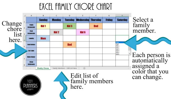 Chore Chart Excel