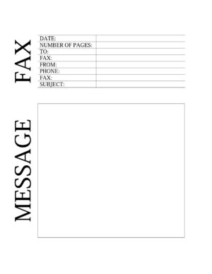 Fax sheet with space for a message