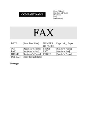 Cover form to send a fax