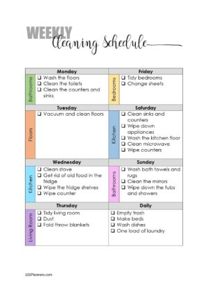 weekly cleaning schedule