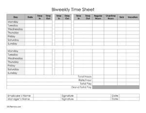Bieekly timesheet - with 2 breaks